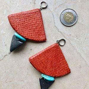 Genuine snakeskin earrings